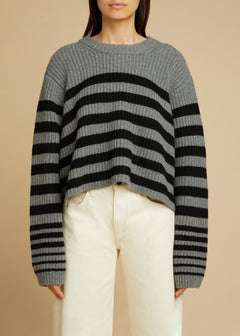 The Dotty Sweater in Smoke and Black Stripe