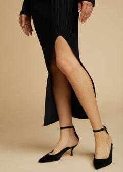 The Sterling Heel in Black Suede