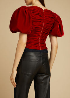 The Kai Top in Ruby Velvet