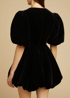 The Leona Dress in Black Velvet