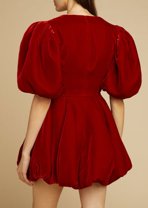The Leona Dress in Ruby Velvet