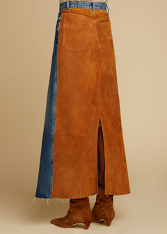 The Magdalena Skirt in Cocoa Suede Combo
