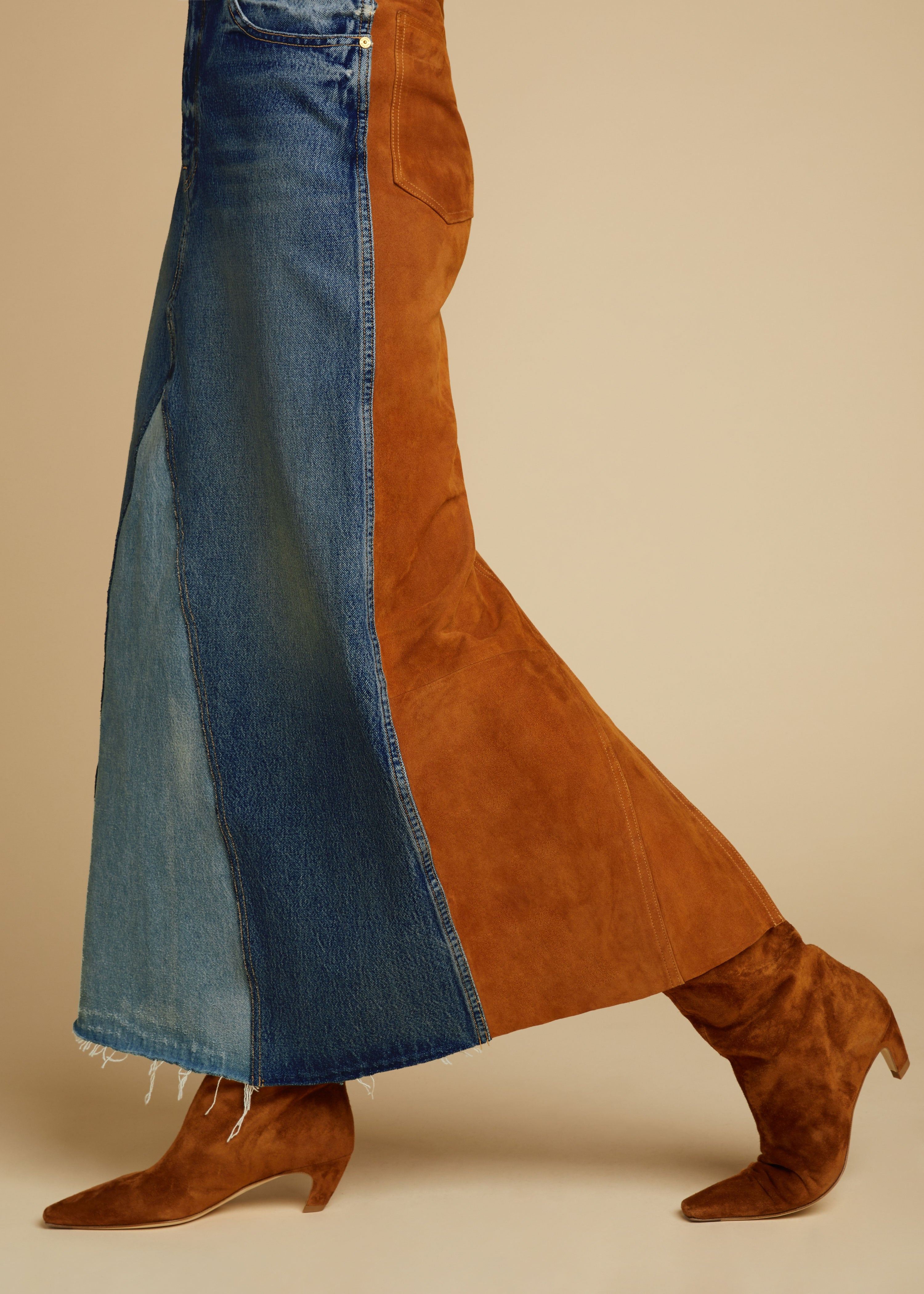 The Magdalena Skirt With Suede Combo in Cocoa