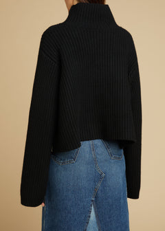 The Marianna Sweater in Black and Powder