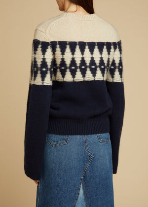 The Romme Sweater in Navy and Butter
