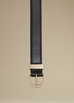 The Brooke Double-Wrap Belt in Black with Silver