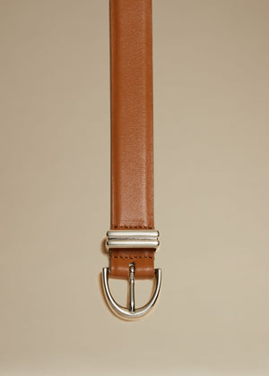 The Brooke Double-Wrap Belt in Caramel with Silver
