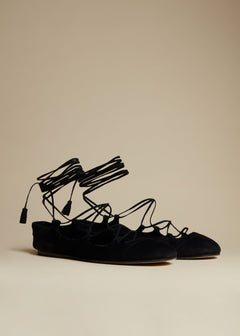 The Lace-Up Flat in Black Suede