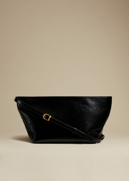 The Adeline Crossbody Bag in Black Patent Leather