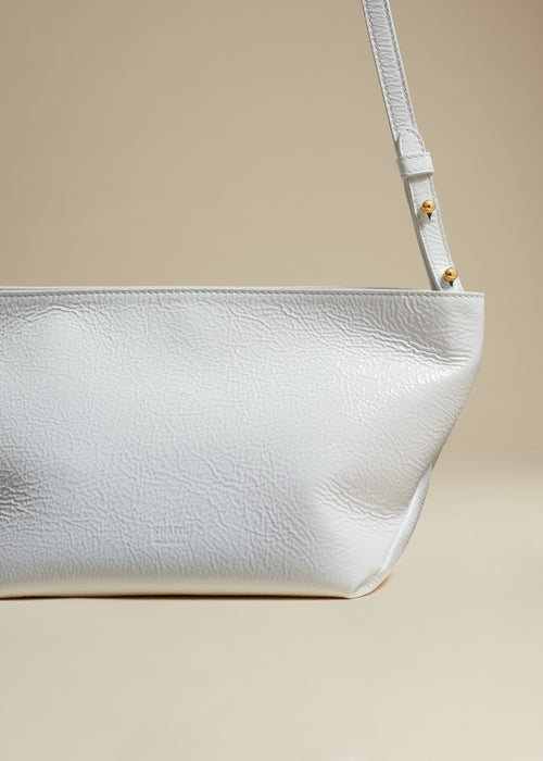 The Adeline Crossbody Bag in White Patent Leather