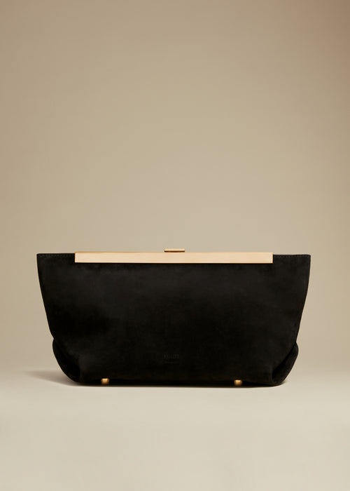 The Aimee Clutch in Black Suede