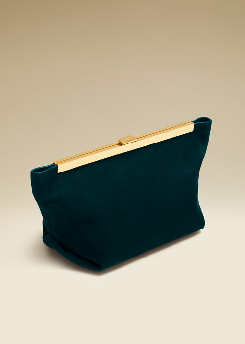 The Aimee Clutch in Hunter Green Suede