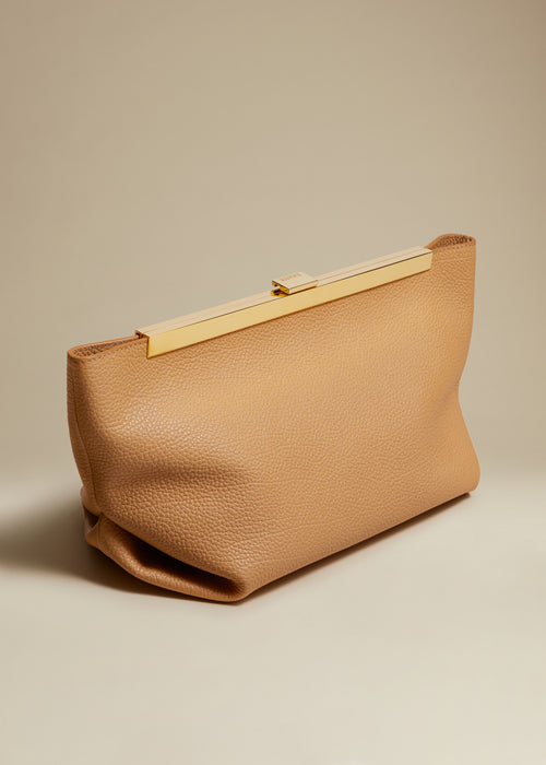The Aimee Clutch in Tan Leather
