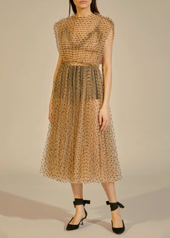 The Alix Dress in Nude with Black Dots