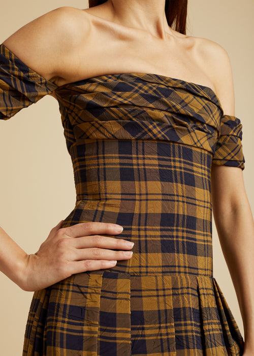 The Amanda Dress with Petticoat in Brown Check