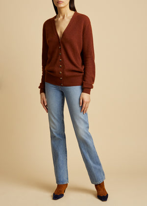 The Amelia Cardigan in Mahogany