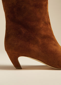 The Ankle Boot in Caramel Suede