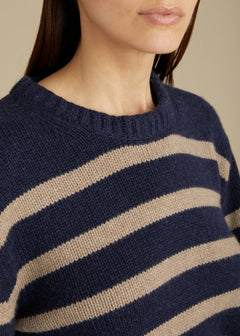 The Annalise Sweater in Abyss and Husk Stripe