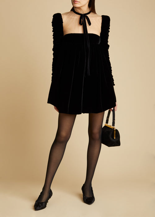 The Ann Dress in Black Velvet