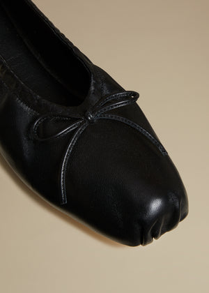 The Ashland Ballet Flat in Black Leather
