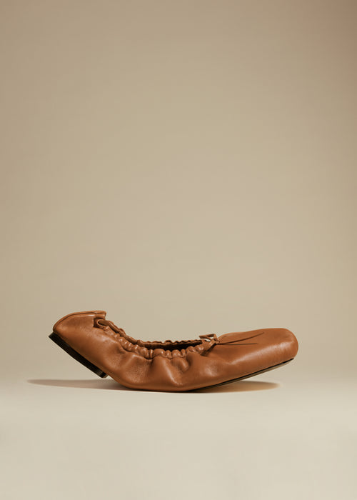 The Ashland Ballet Flat in Caramel Leather
