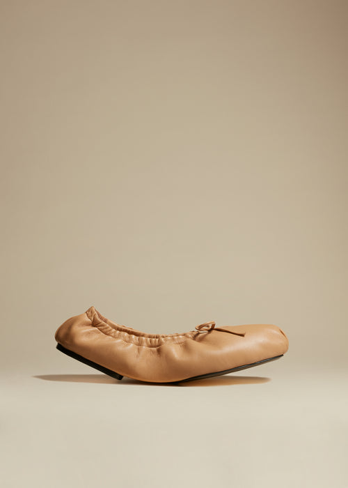 The Ashland Ballet Flat in Tan Leather