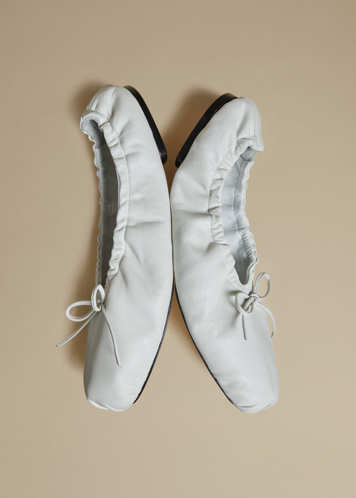 The Ashland Ballet Flat in White Leather