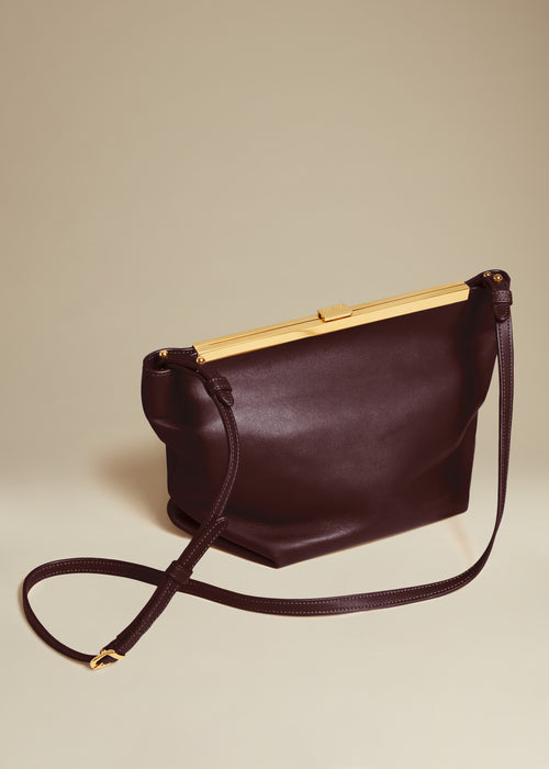 The Augusta Crossbody Bag in Deep Red Leather