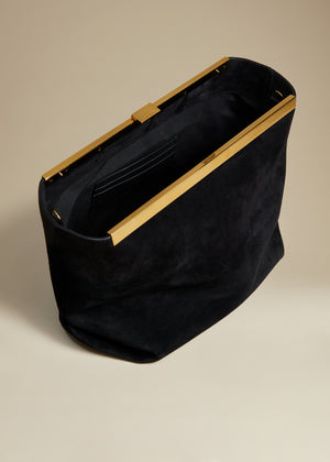 The Augusta Crossbody Bag in Black Suede