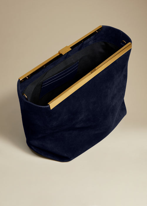 The Augusta Crossbody Bag in Navy Suede