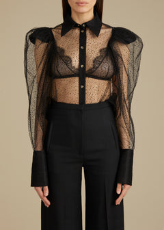 The Bell Top in Black Sparkle