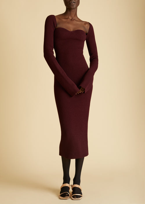 The Beth Dress in Oxblood