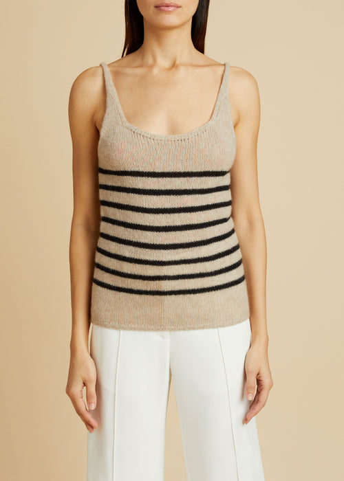 The Betty Tank in Powder and Black Stripe