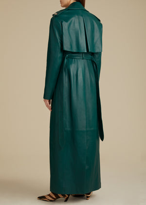 The Blythe Trench in Hunter Green Leather