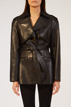 The Billy Trench in Black Leather