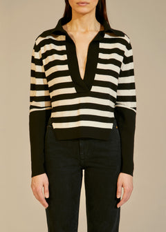 The Ciel Sweater in Black and Cream Stripe