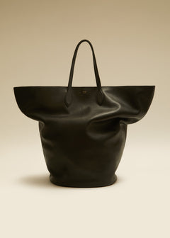 The Large Circle Tote in Black Leather