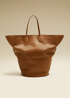 The Large Circle Tote in Caramel Leather