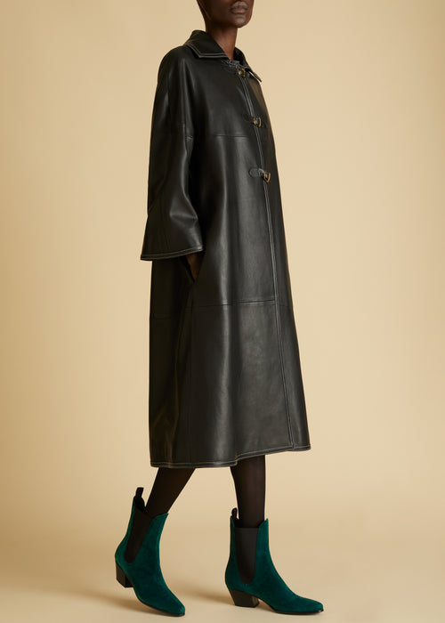 The Daisy Coat in Black Leather