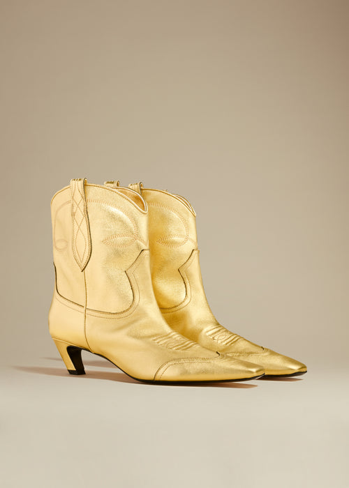 The Dallas Ankle Boot in Gold Leather