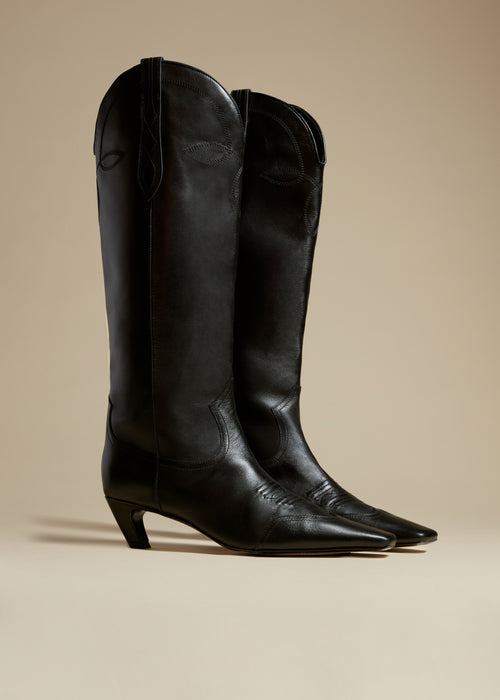 The Dallas Knee High Boot in Black Leather