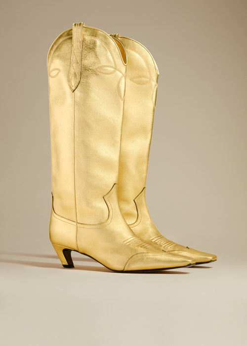 The Dallas Knee High Boot in Gold Leather