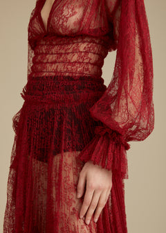The Dawny Dress in Oxblood Lace