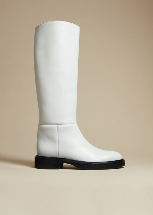 The Derby Boot in White Leather