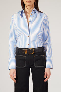 The Diana Top in Light Blue and White Stripe