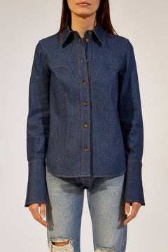 The Dena Shirt in Coated Indigo