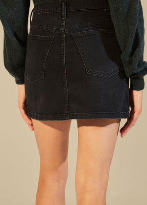 The Dolly Mini Skirt in Stoned Black