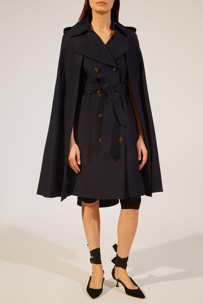 newest 81a67 4c22b The Donna Trench Cape in Classic Navy - 8 / Classic Navy