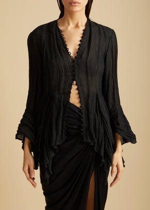 The Elliot Top in Black Gauze