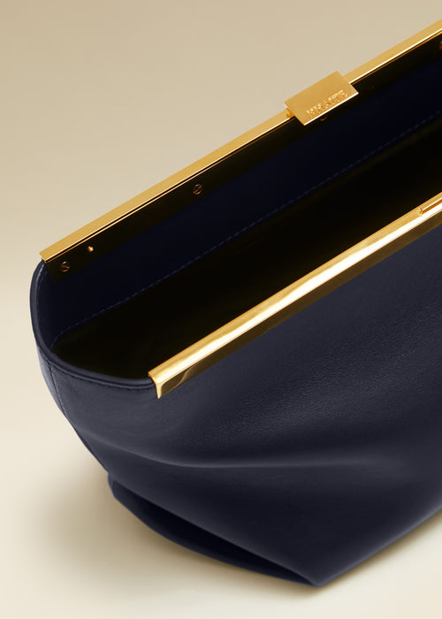 The Aimee Clutch in Navy Leather